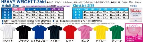 1008円Tシャツのサイズとカラー